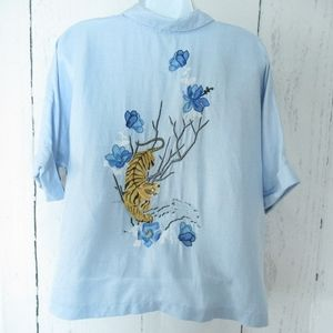 Topshop Blouse Embroidered Tiger Floral Crop Top